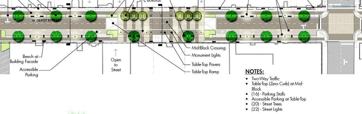 Depot Streetscape cross section
