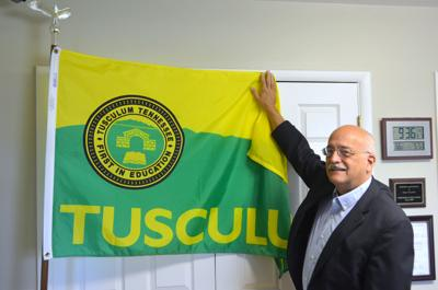 Mayor Alan Corley With Tusculum City Seal Flag