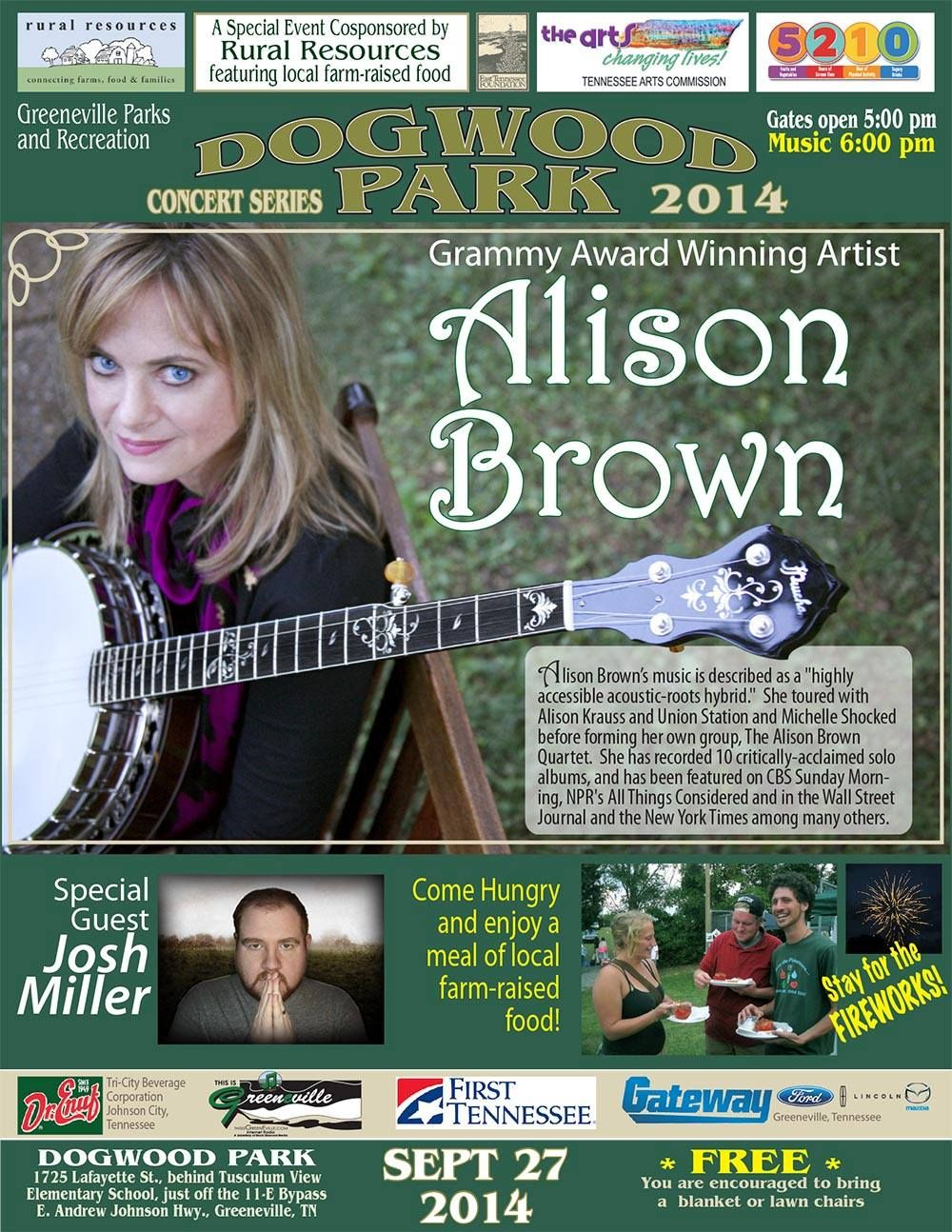 Greeneville's own Rural Resources co-hosting this event featuring Grammy Award Winner Alison Brown and her group.