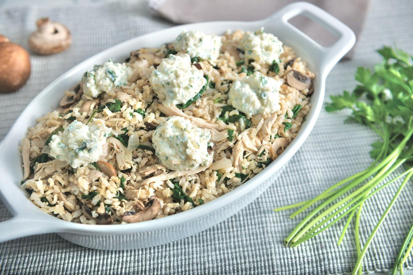 Chicken and Rice Casserole with Spinach and Mushrooms