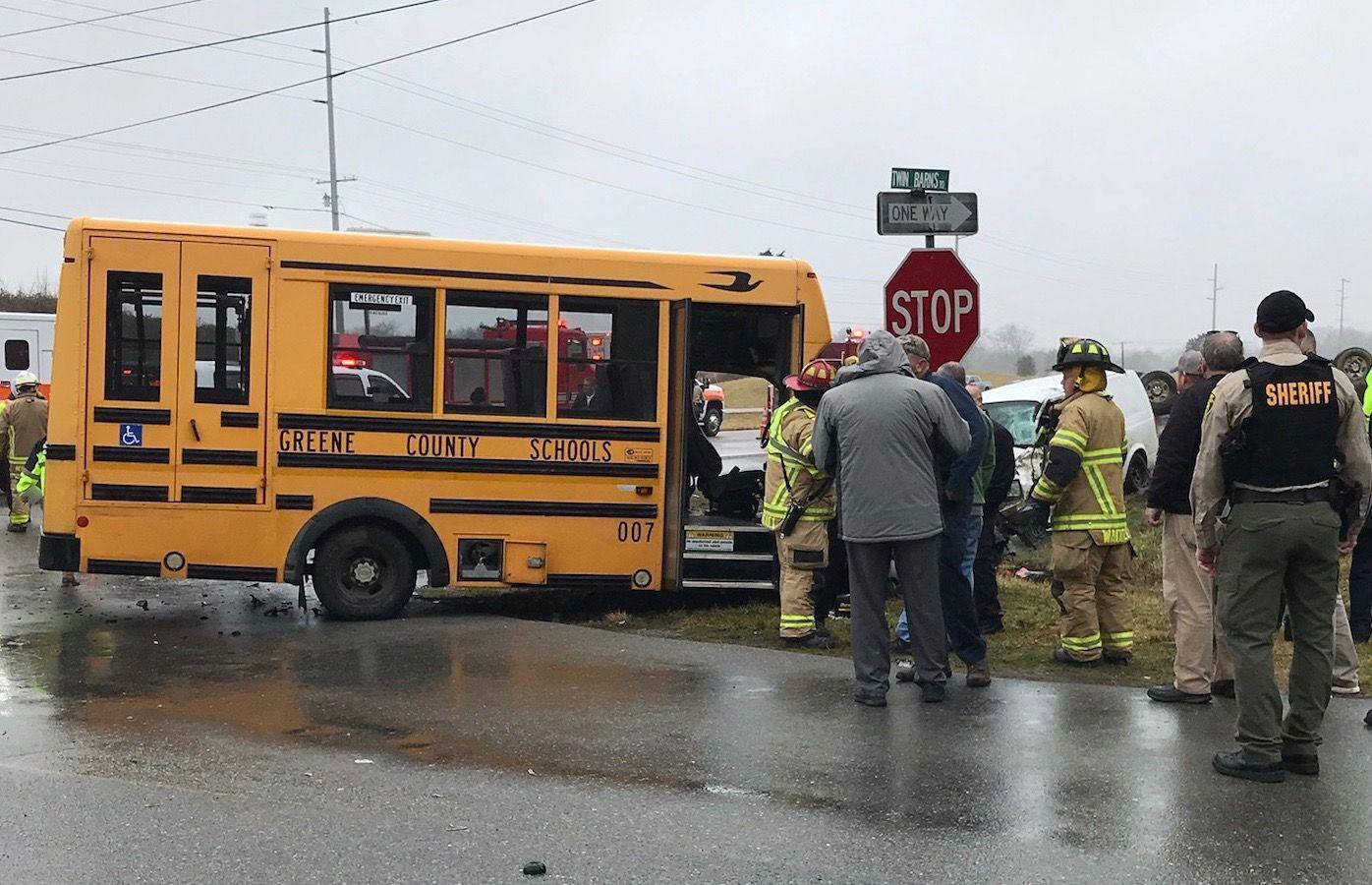 School Bus In 3-Vehicle Crash