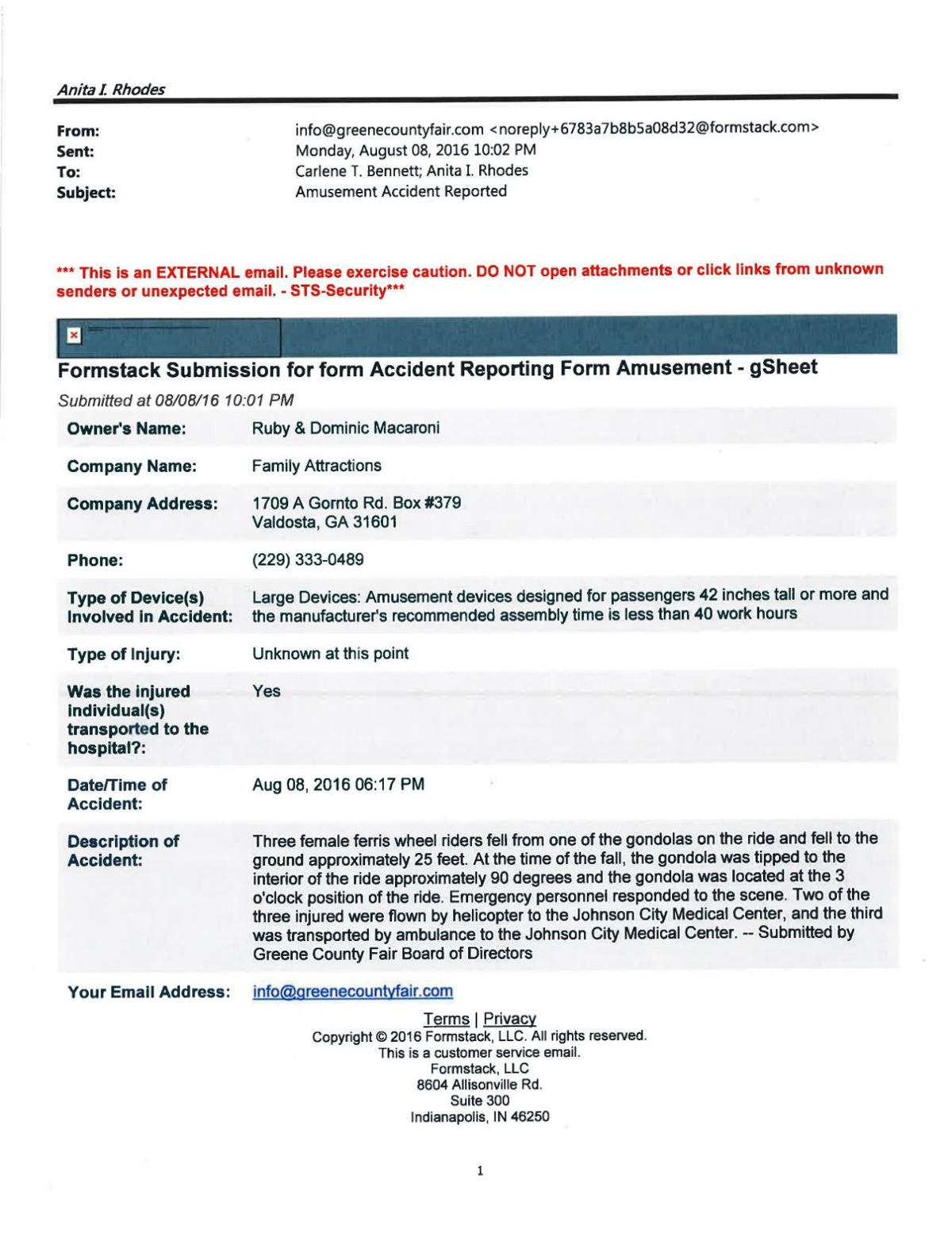 Download PDF Ferris Wheel Accident Report From Tennessee Department Of Labor  And Workforce