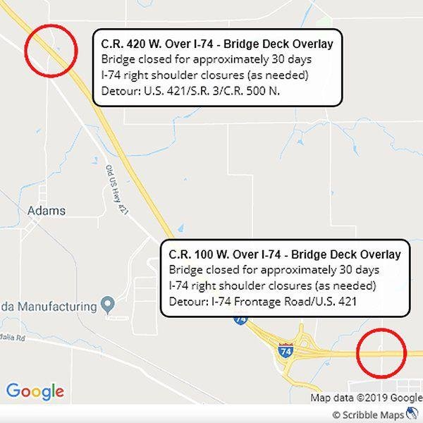 Bridge work scheduled for CR 420 W  and 100 W  | Local News