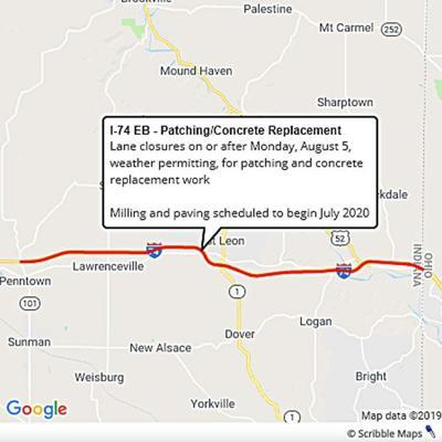 Lane closures begin next week on I-74 EB