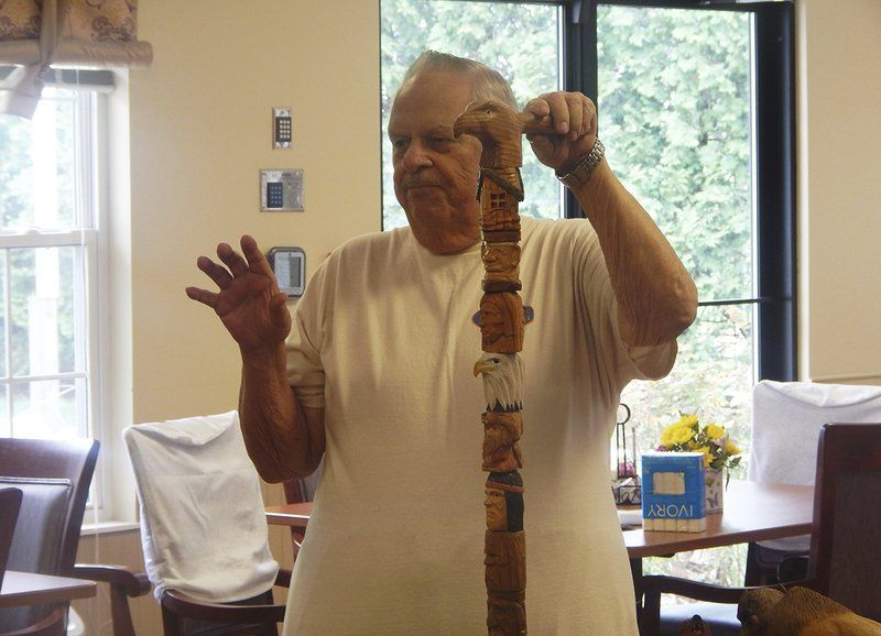 Area man makes wood canes for World War II veterans