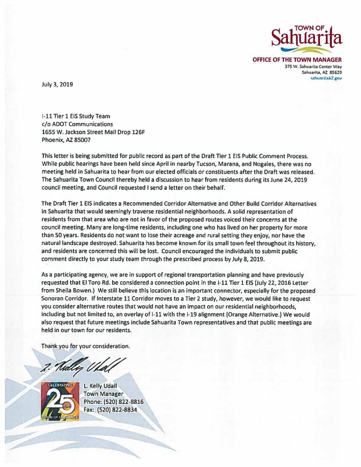 Town letter to ADOT