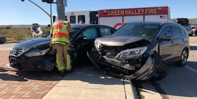 One sent to hospital following two-vehicle crash