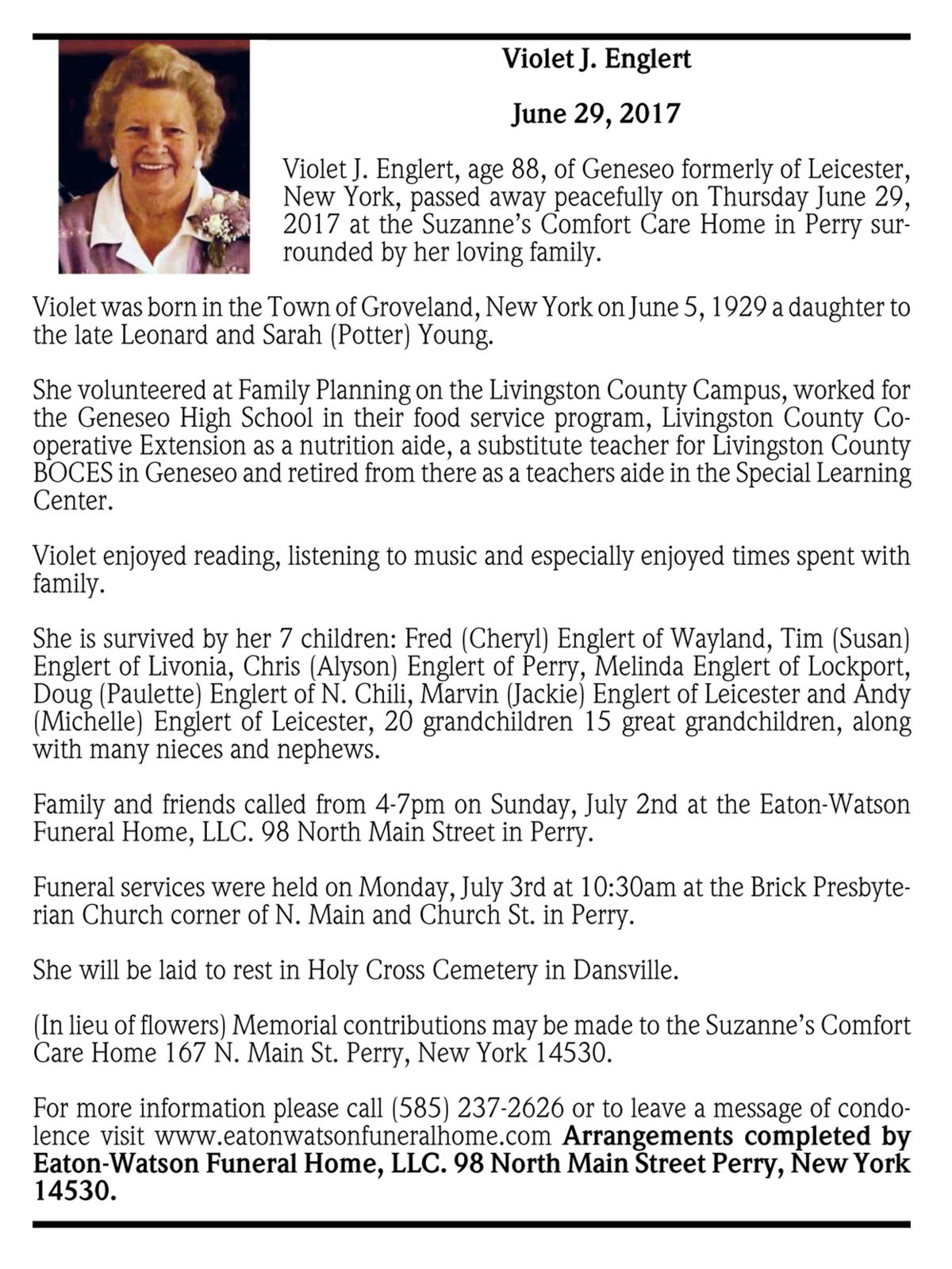 New york livingston county leicester - Violet J Englert June 29 2017 Passages Obituaries Gvpennysaver Com