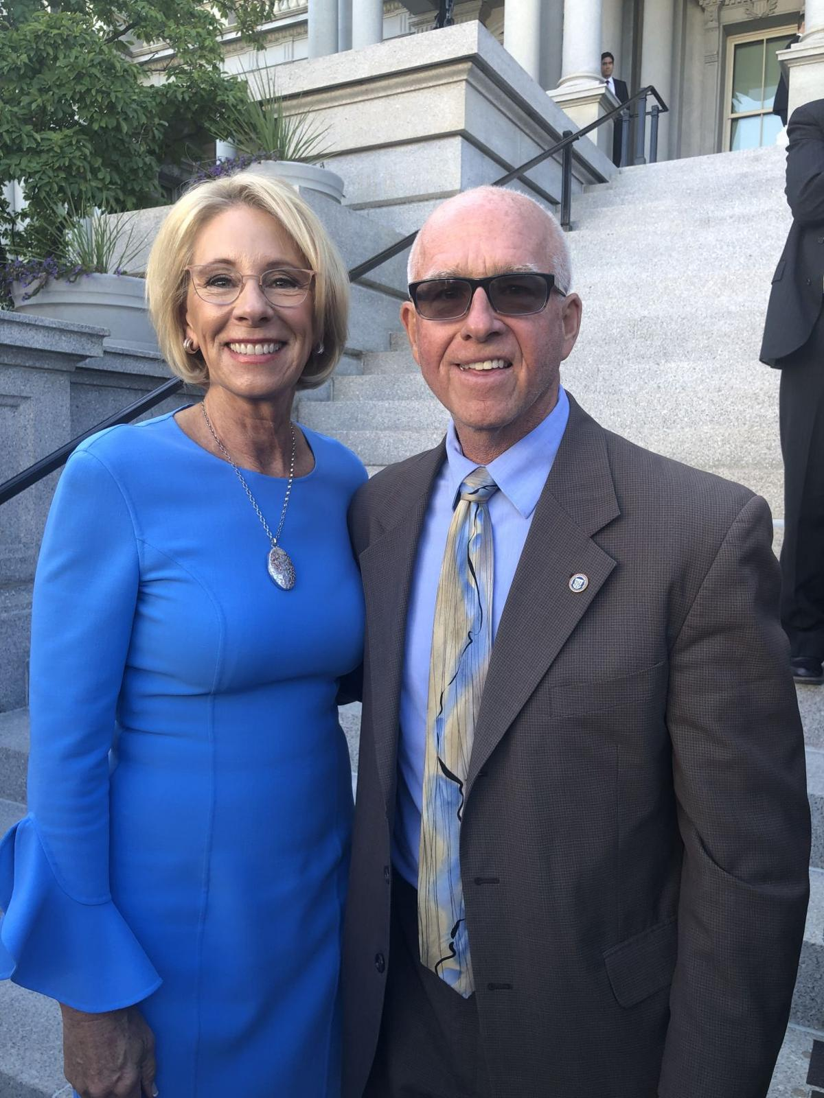 Principal Dave Dunn and Secretary Betsy DeVos