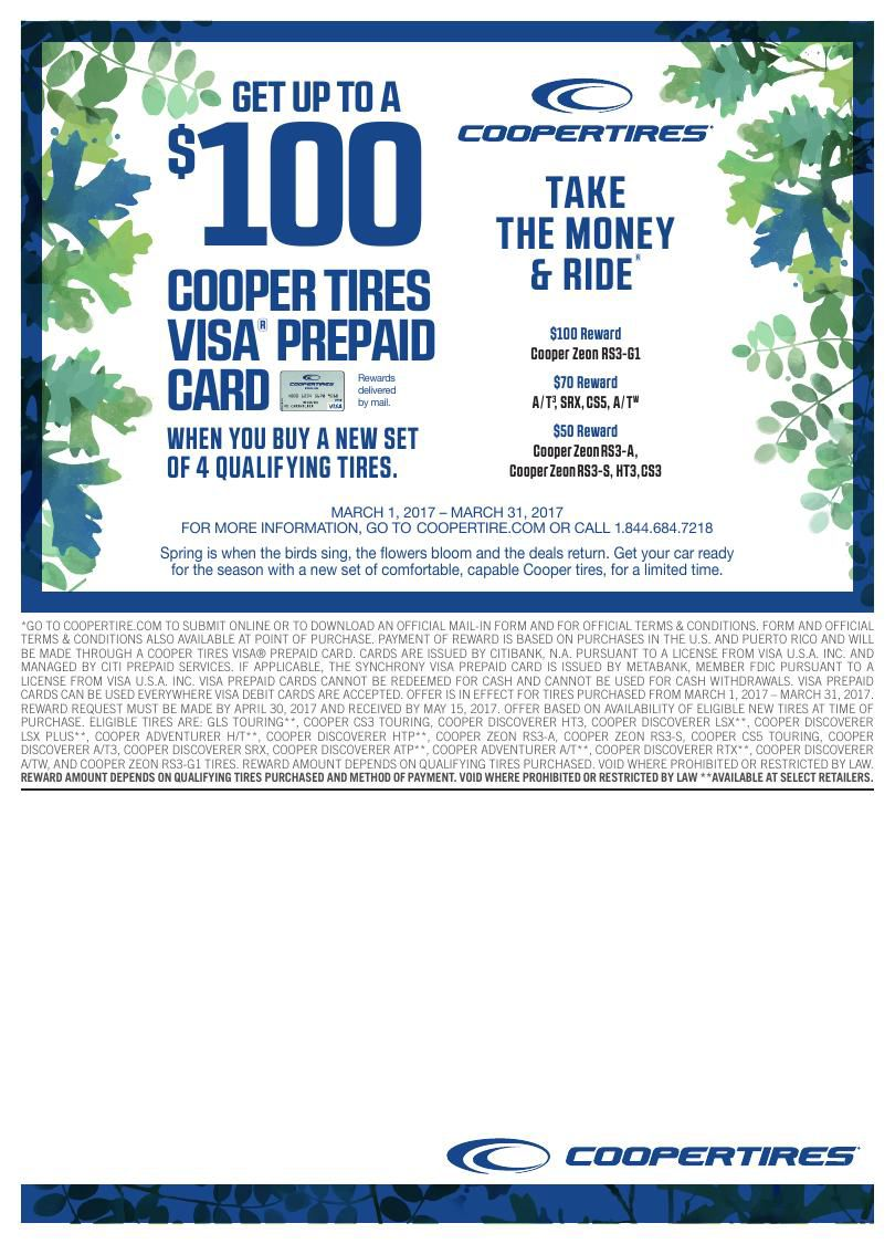 Cooper Tires Take The Money Ride Consumer Promotion March 1st