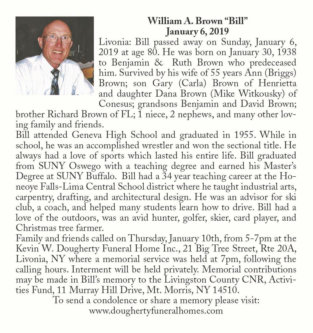 "William A. Brown ""Bill"" ~ January 6, 2019"