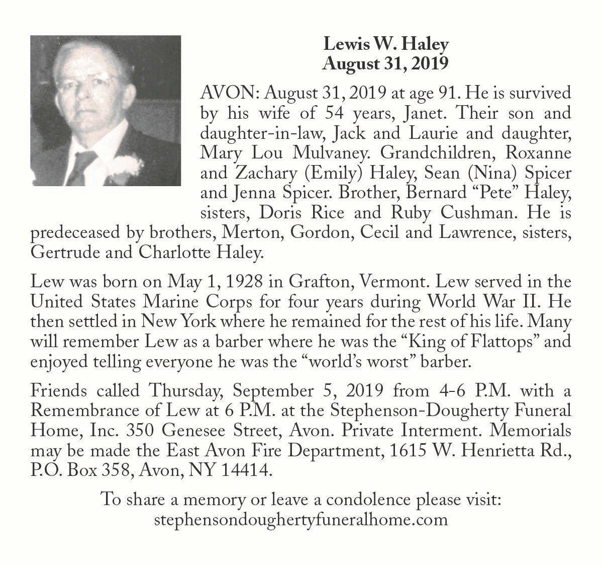 Lewis W. Haley ~ August 31, 2019