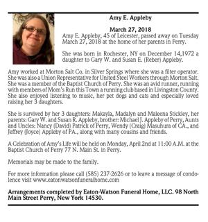 Amy E. Appleby ~ March 27, 2018