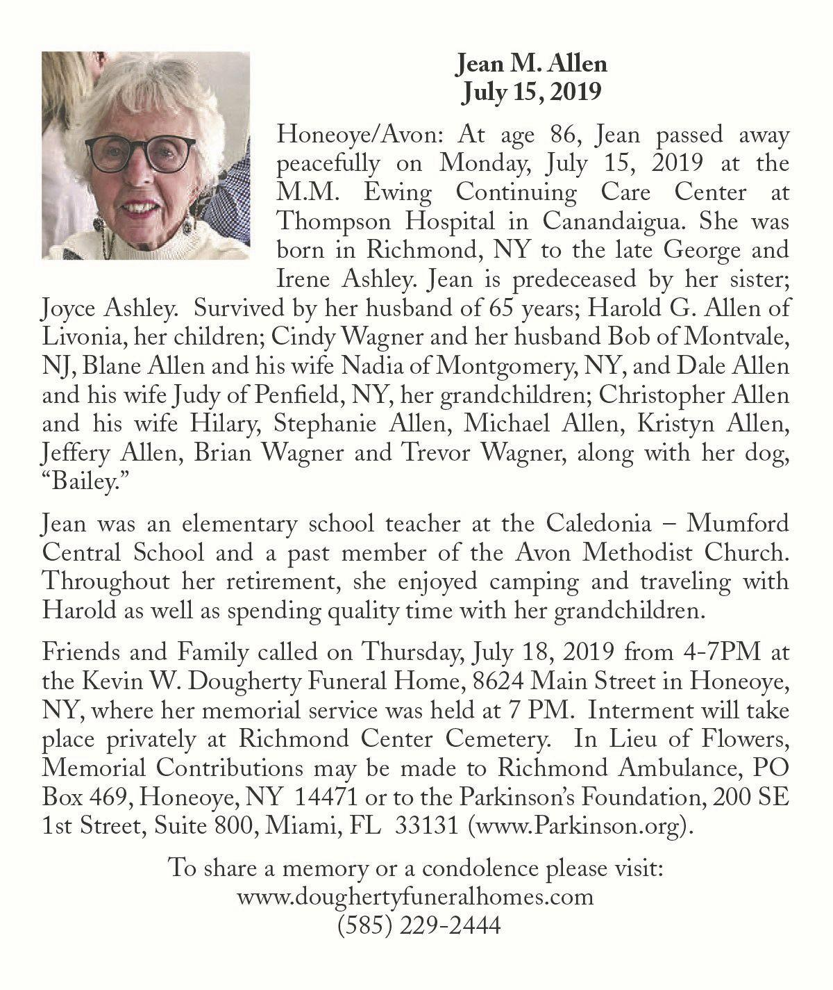 Jean M. Allen ~ July 15, 2019