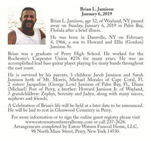 Brian L. Jamison ~ January 6, 2019