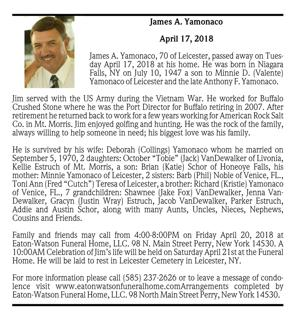 James A. Yamonaco ~ April 17, 2018