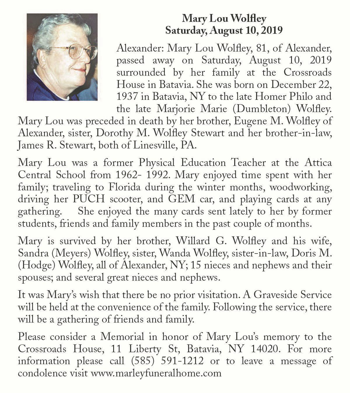 Mary Lou Wolfley ~ August 10, 2019