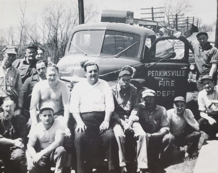 This 1940s photo of Perkinsville Fire Department volunteers graces the walls of the Perkinsville Fire Hall!
