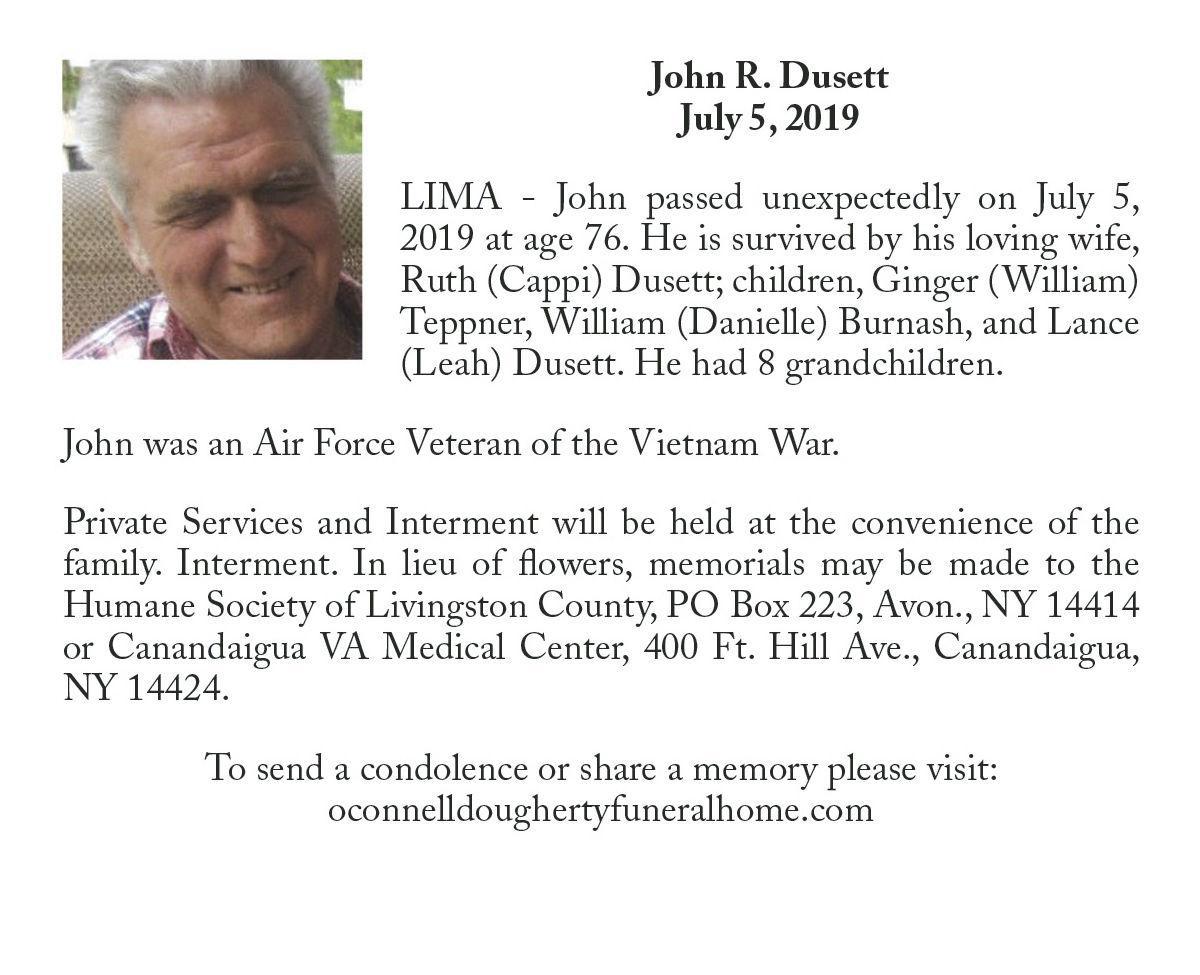 John R. Dusett ~ July 5, 2019