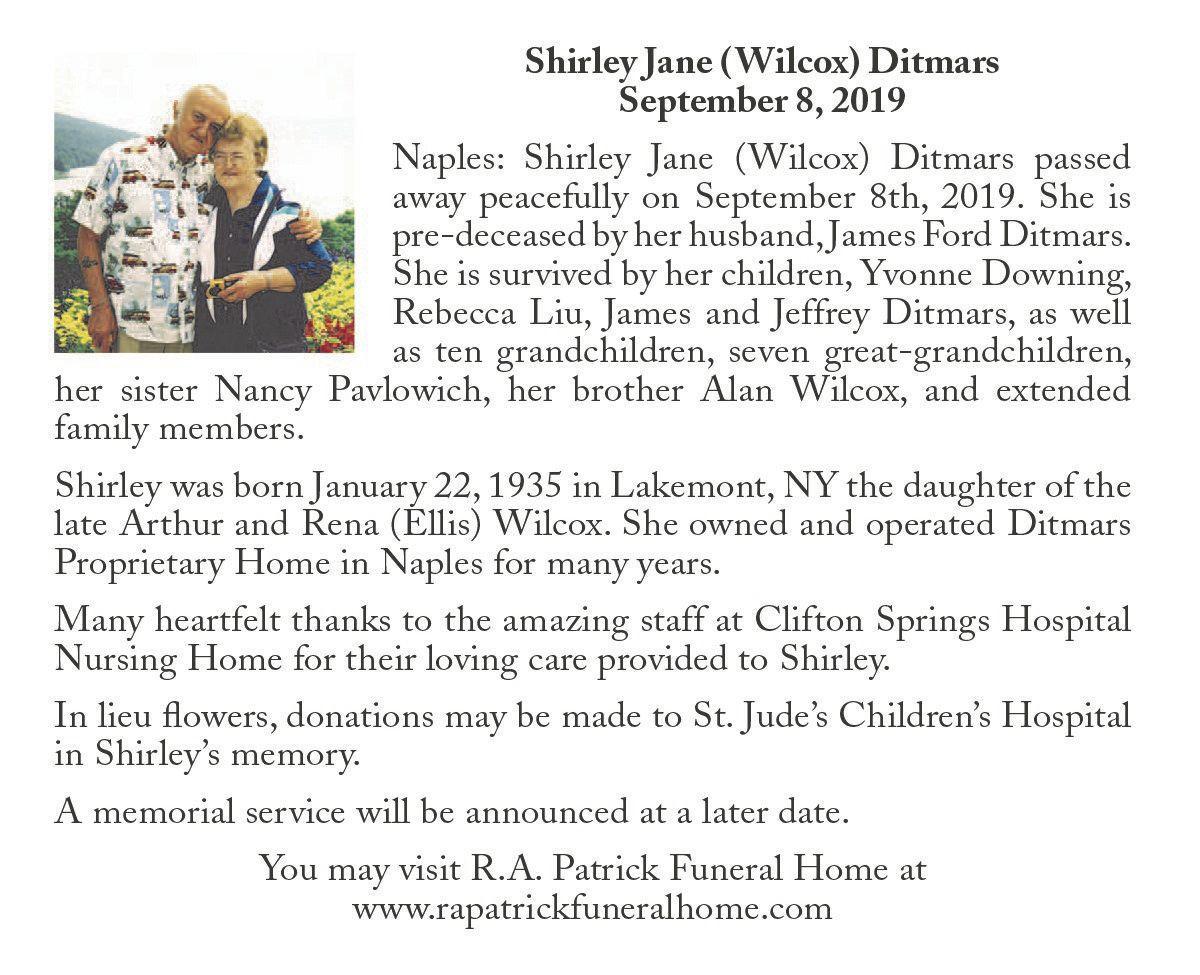 Shirley Jane (Wilcox) Ditmars ~ September 8, 2019