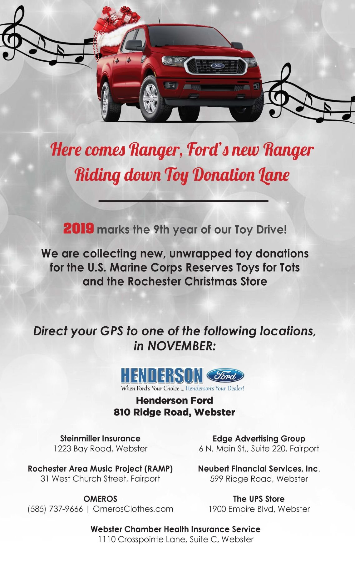HENDERSON FORD RIDING DOWN TOY DONATION LANE