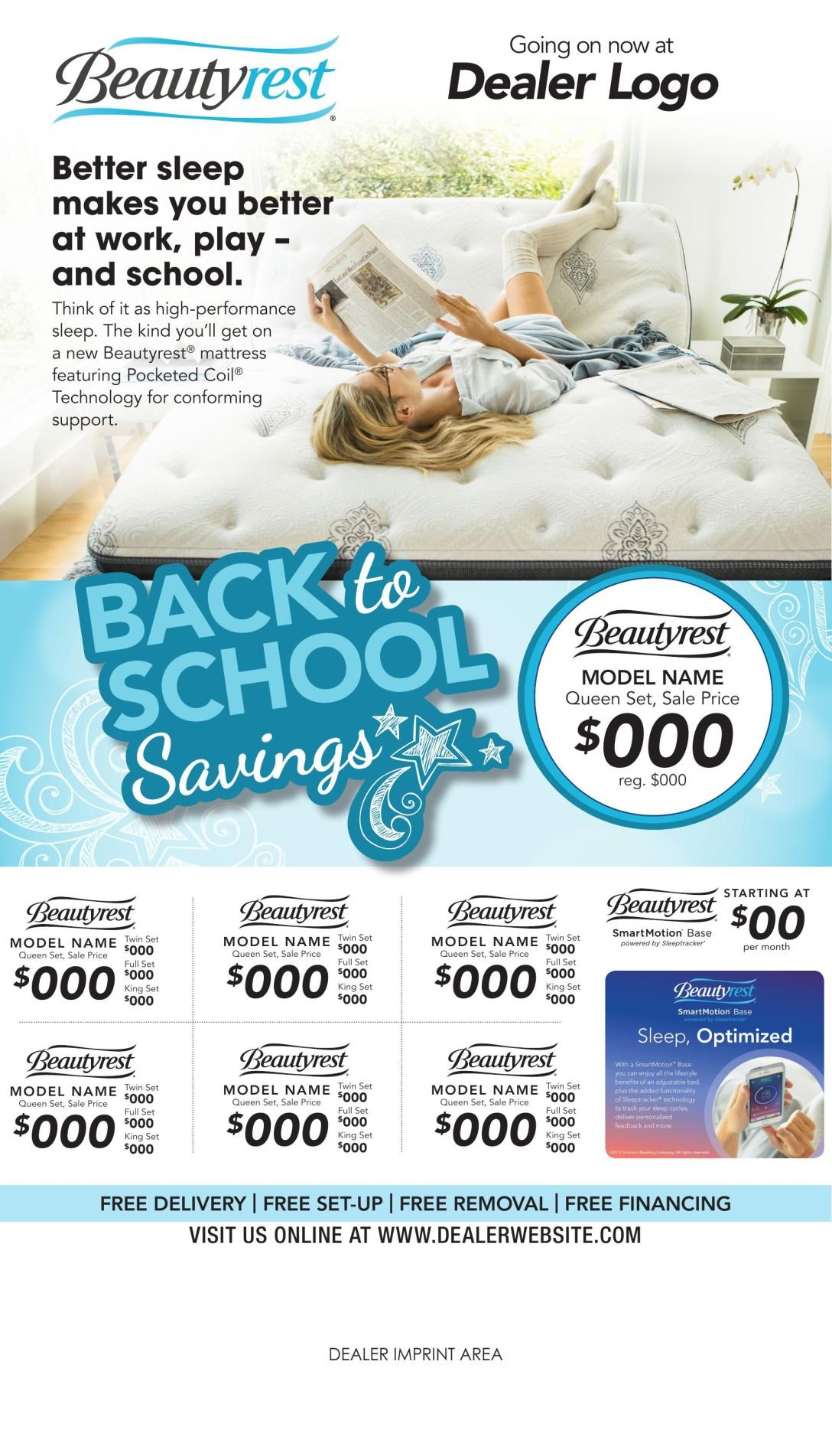 beautyrest dealers to advertise back to school savings advertise