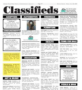 Classified Advertising | Advertise | Genesee Valley Penny Saver