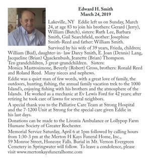 Edward H. Smith ~ March 24, 2019