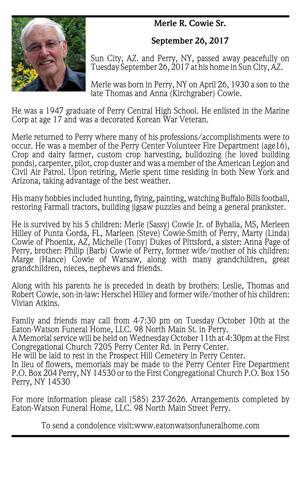 Merle R. Cowie Sr. ~ September 26, 2017