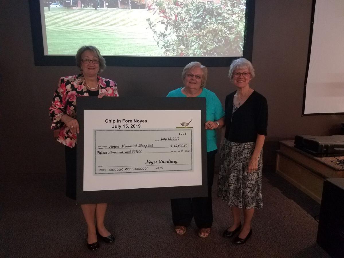Bonnie Sisak and Auxiliary chair Mary Ann Schramburg and Noyes' CEO Amy Pollard