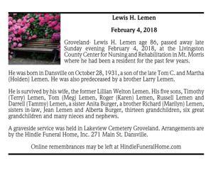 Lewis H. Lemen ~ February 4, 2018