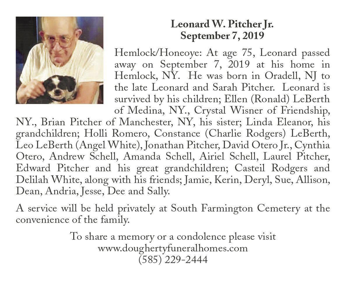 Leonard W. Pitcher Jr. ~ September 7, 2019
