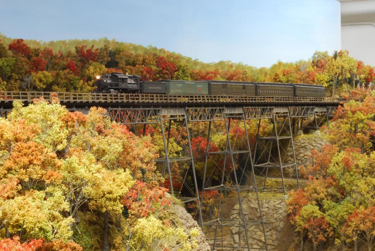Model Train Over Lehigh Gorge.JPG