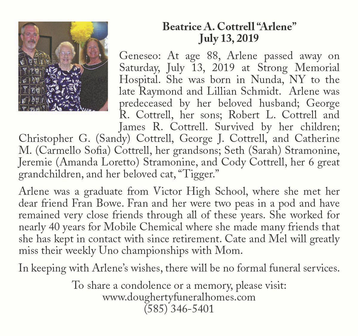 """Beatrice A. Cottrell """"Arlene"""" ~ July 13, 2019"""