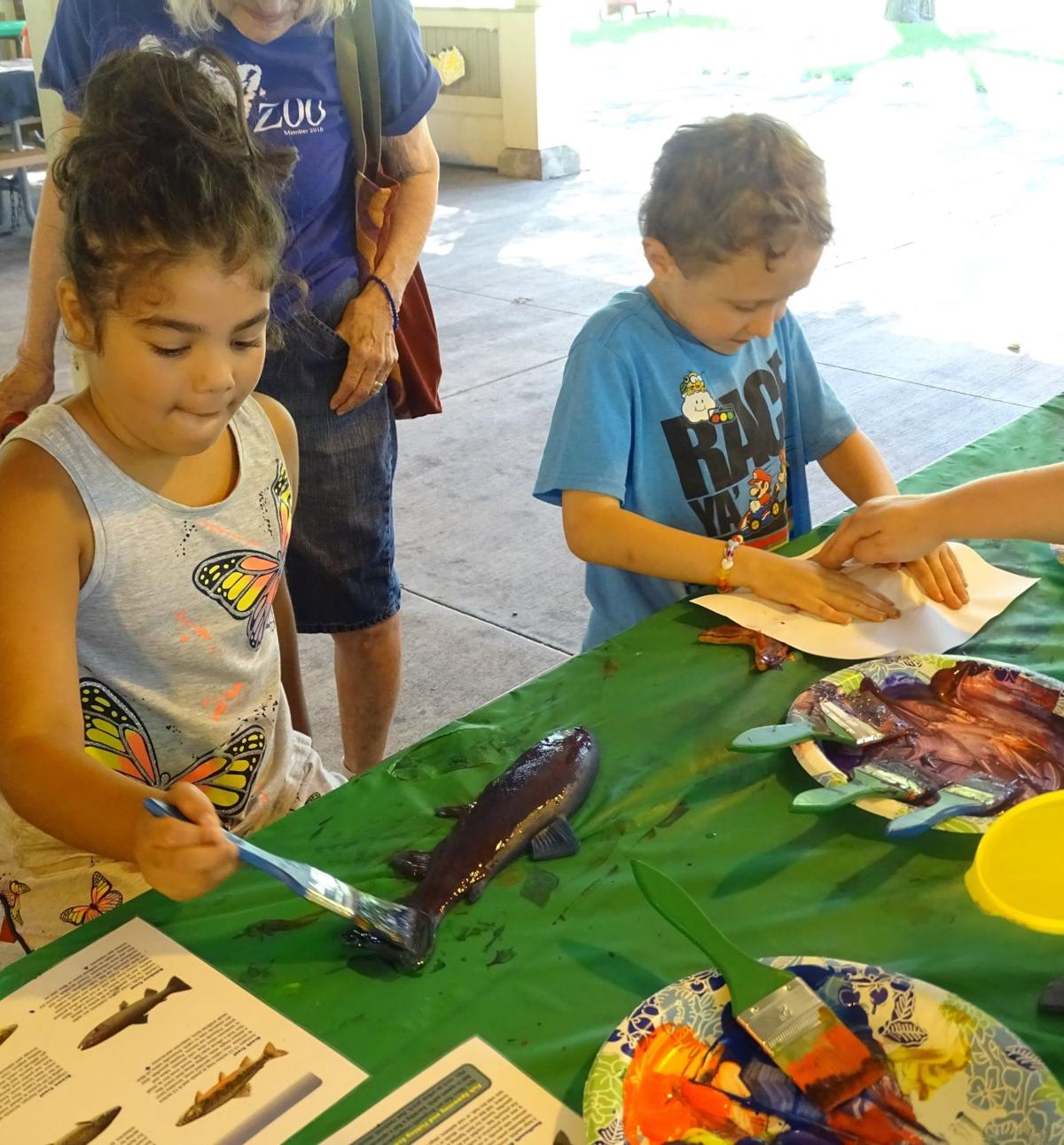 Youth trying Gyotaku fish painting