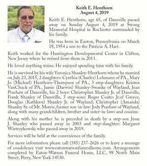 Keith E. Henthorn ~ August 4, 2019