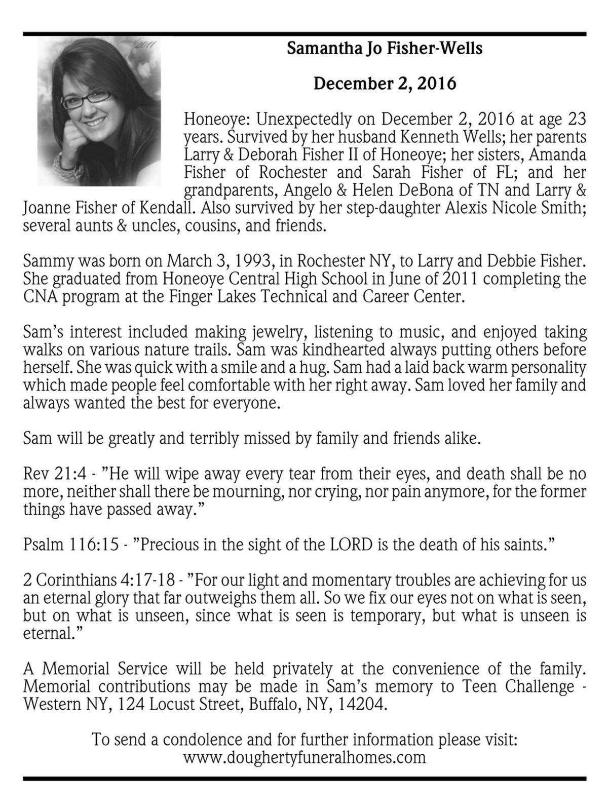 Hometown Auto Sales >> Samantha Jo Fisher-Wells ~ December 2, 2016 | Passages ...