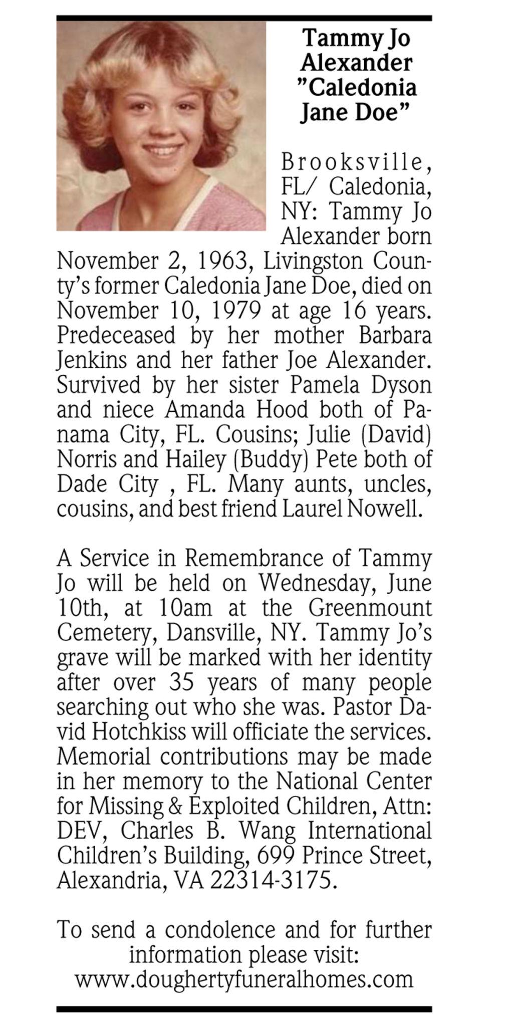 "Happy Auto Sales >> Tammy Jo Alexander ""Caledonia Jane Doe""   Passages   Obituaries   gvpennysaver.com"