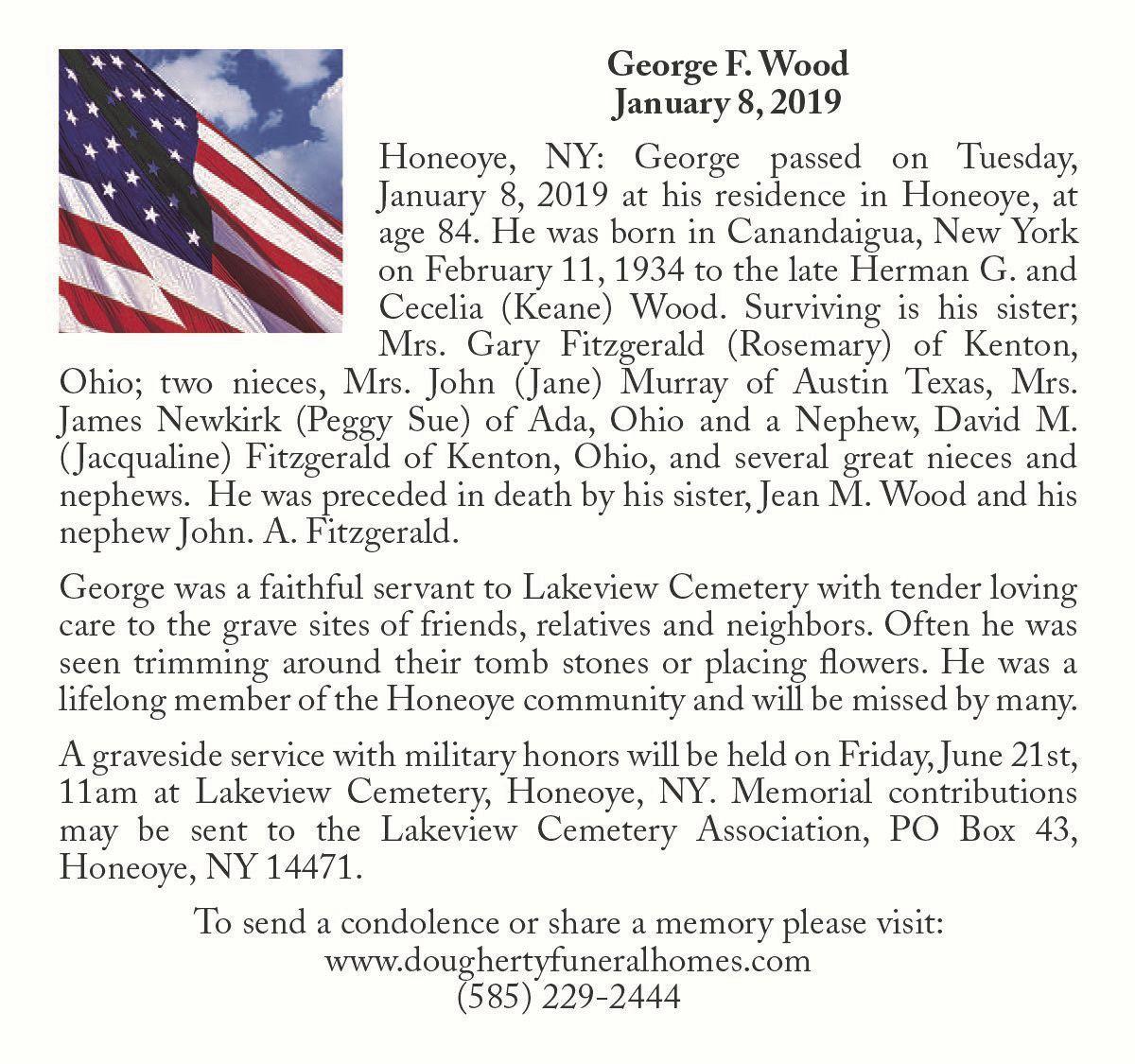 George F. Wood ~ January 8, 2019