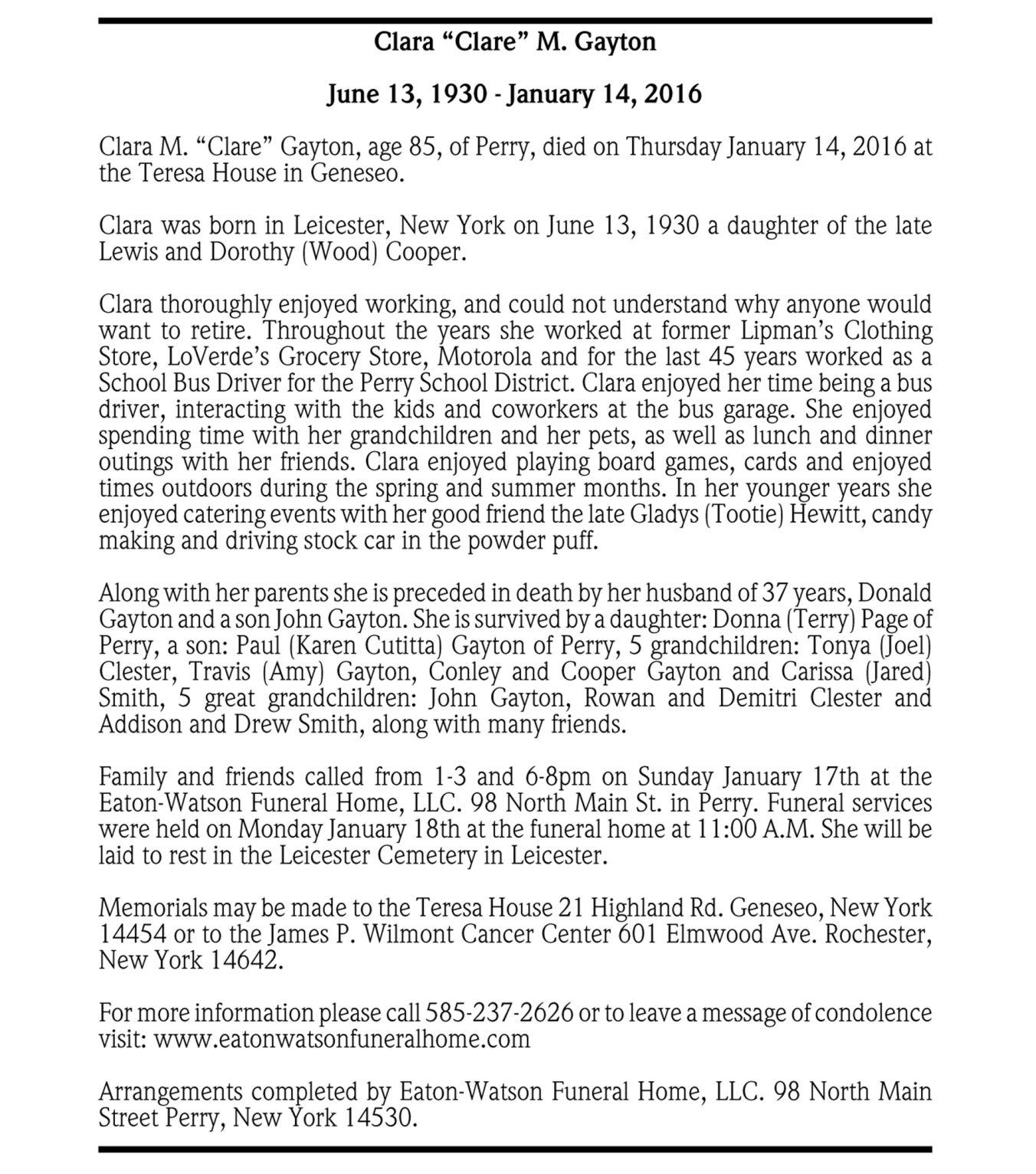"Clara ""Clare"" M. Gayton ~ January 14, 2016"
