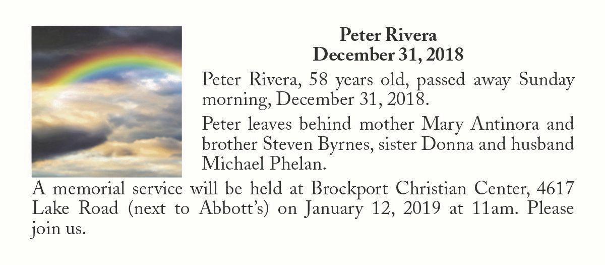 Peter Rivera ~ December 31, 2018