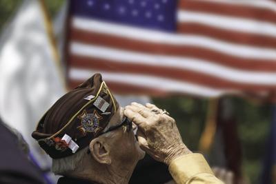 Veteran saluting flag Generic