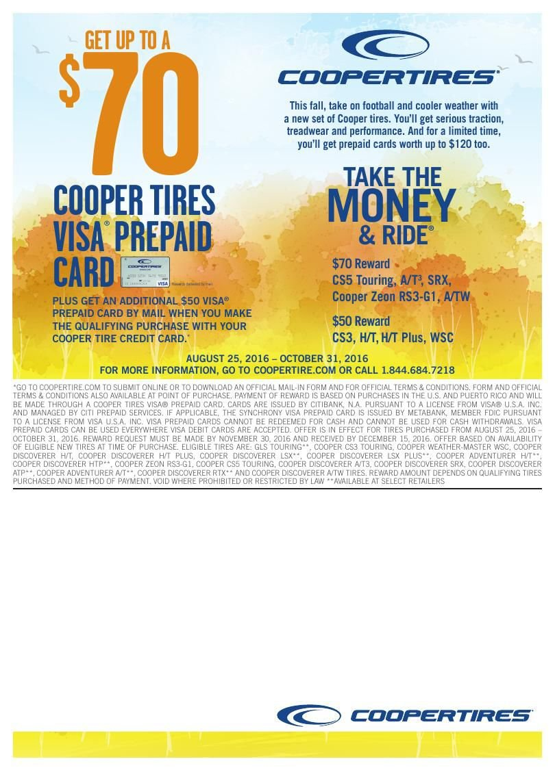 Cooper Tires Dealers To Advertise Take The Money Ride Rebate
