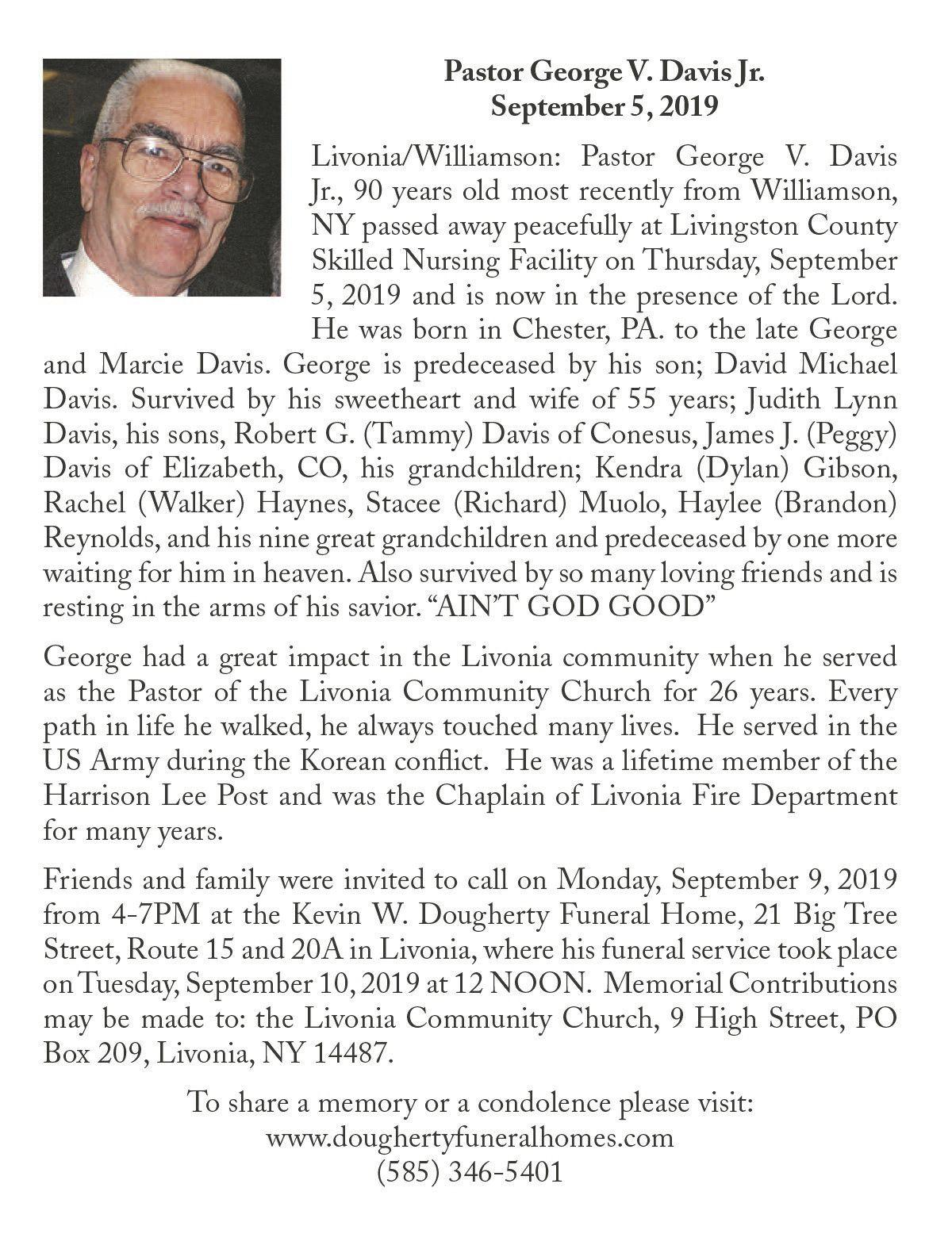 Pastor George V. Davis Jr. ~ September 5, 2019