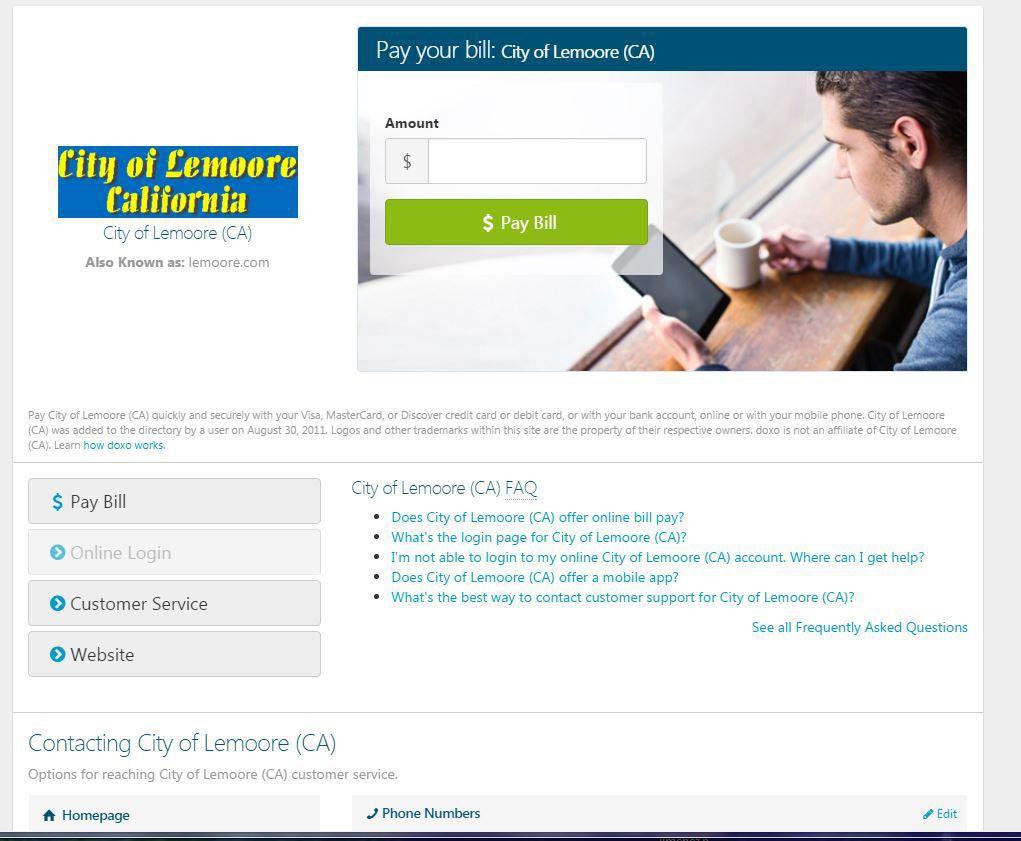 Lemoore online bill pay