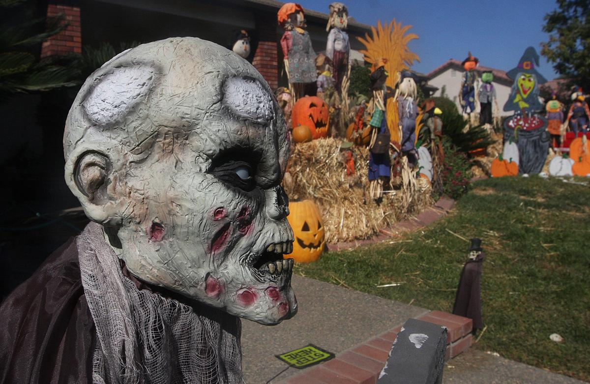 Halloween house in Hanford Rowe family