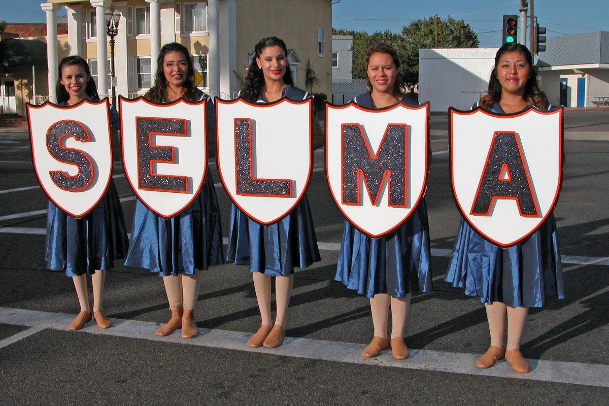 Selma High performs: Color guard lines up