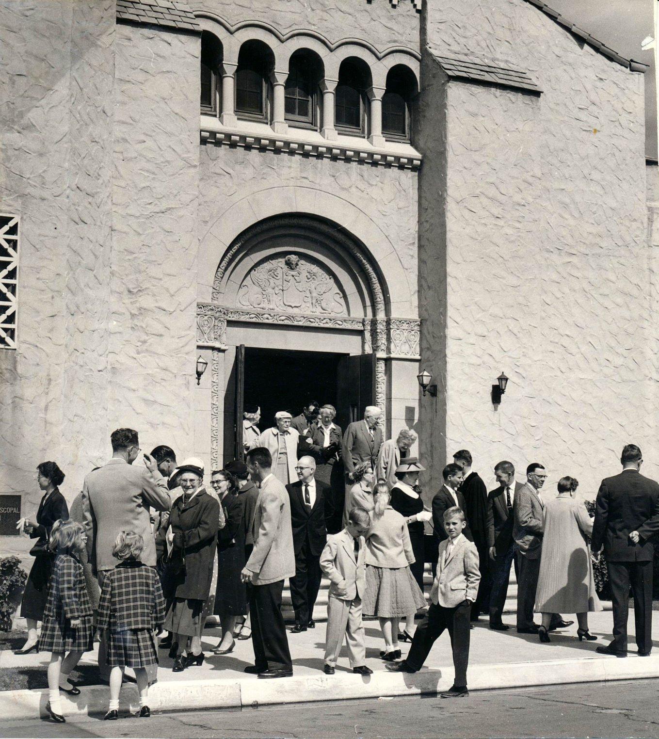 1956  Hanford Methodist Church Exiting sanctuary following Sunday church service (2).jpg