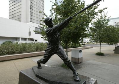 Statue of Rogers Hornsby of the St. Louis Cardinals outside of Busch Stadium on July 18, 2004 in St. Louis, Mo.
