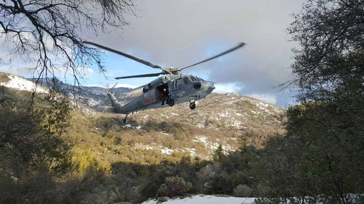 NAS Lemoore Search and Rescue Detachment transports skiers to safety